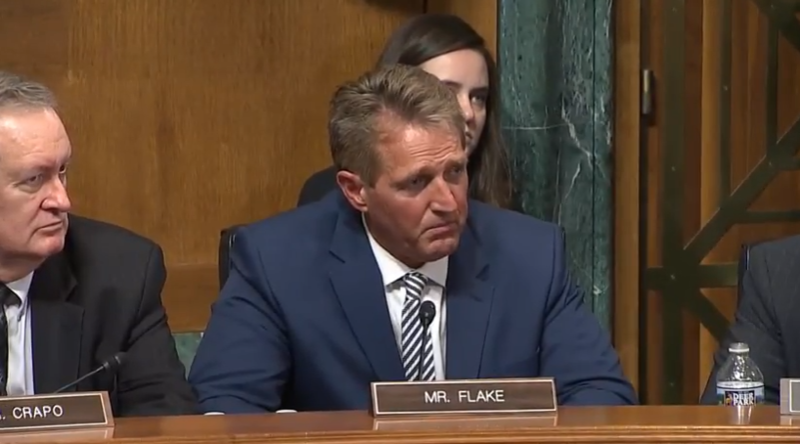 Image of Jeff Flake in Judiciary Committee.
