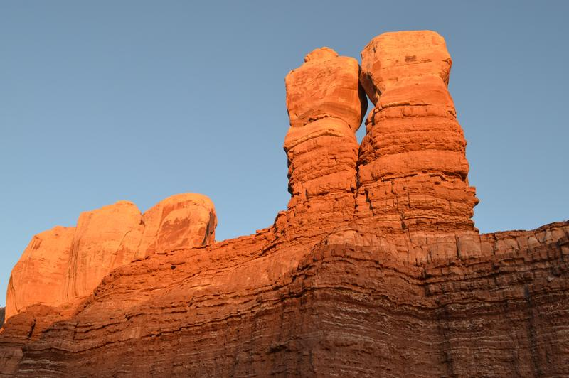 Twin Rocks at dusk on the north end of Bluff.
