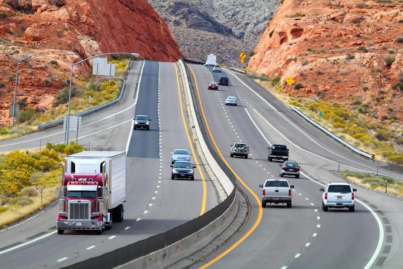 Traffic on Utah highway.