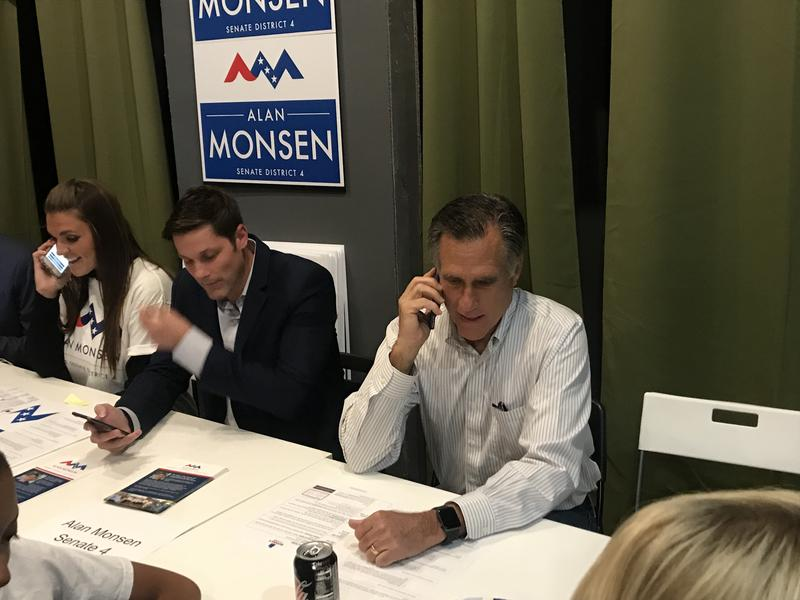 Photo of Mitt Romney at phone bank.