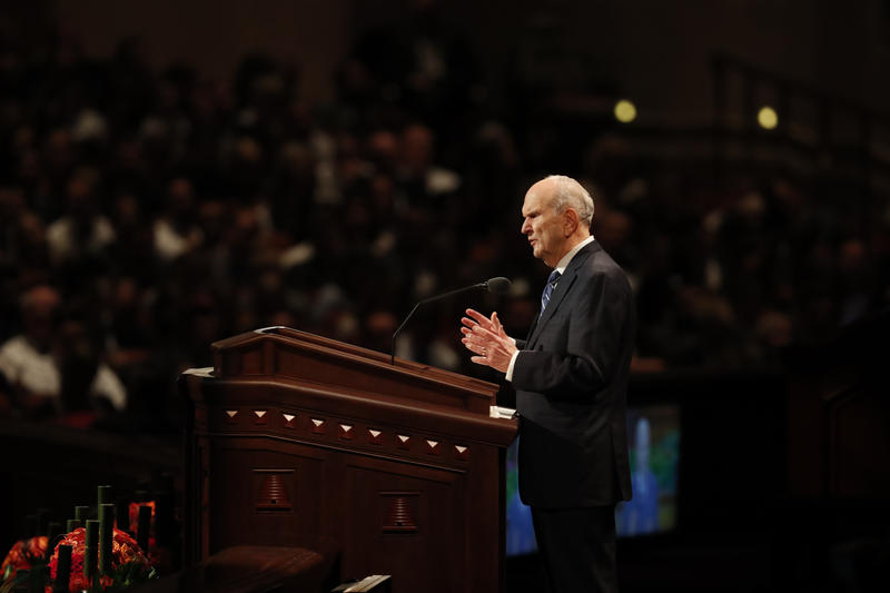 Russell M. Nelson, president of The Church of Jesus Christ of Latter-day Saints, speaks at the bi-annual General Conference.