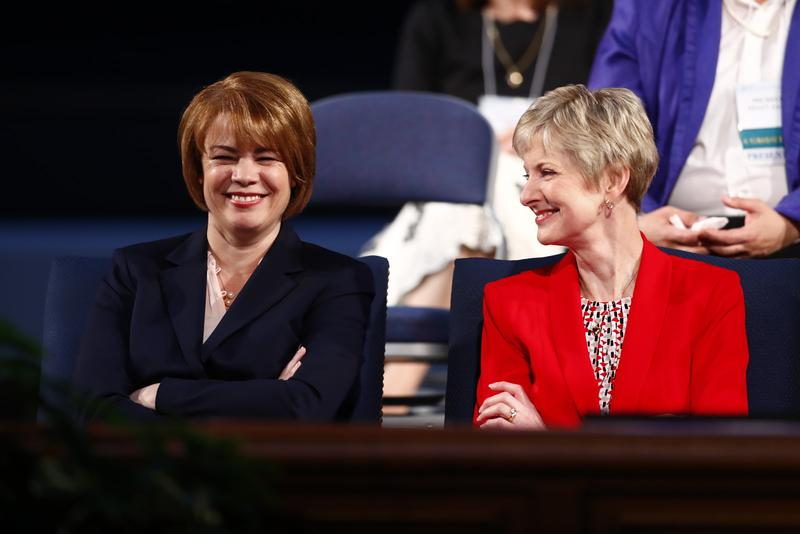 Sister Sharon Eubank (left) and Sister Jean B. Bingham (right) serve in Relief Society general presidency for The Church of Jesus Christ of Latter-day Saints but do not participate in the top all-male leadership councils.