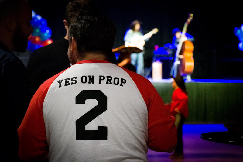 Photo of Prop 2 supporter.