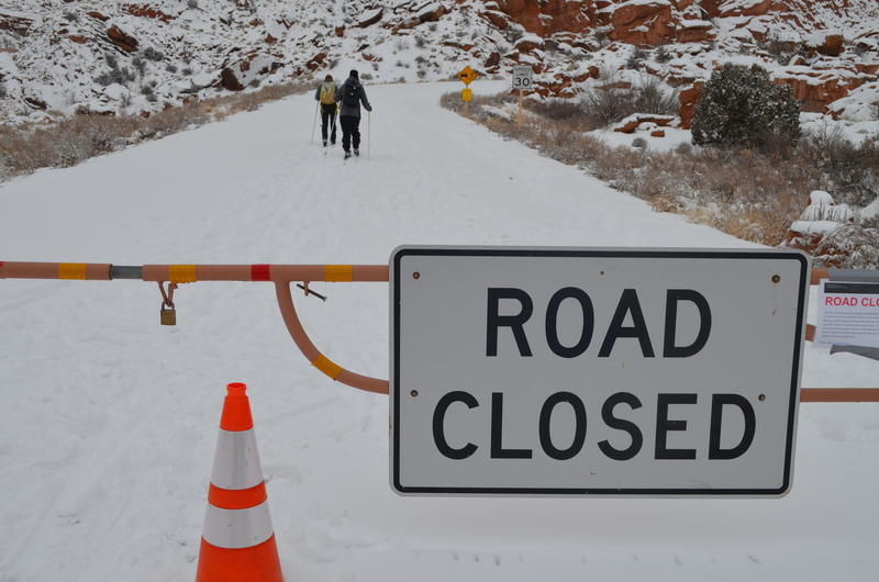Photo of closed road at Arches National Park.