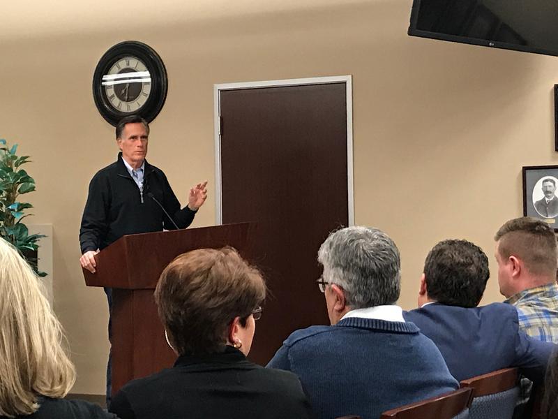 Senator Romney at a town hall.