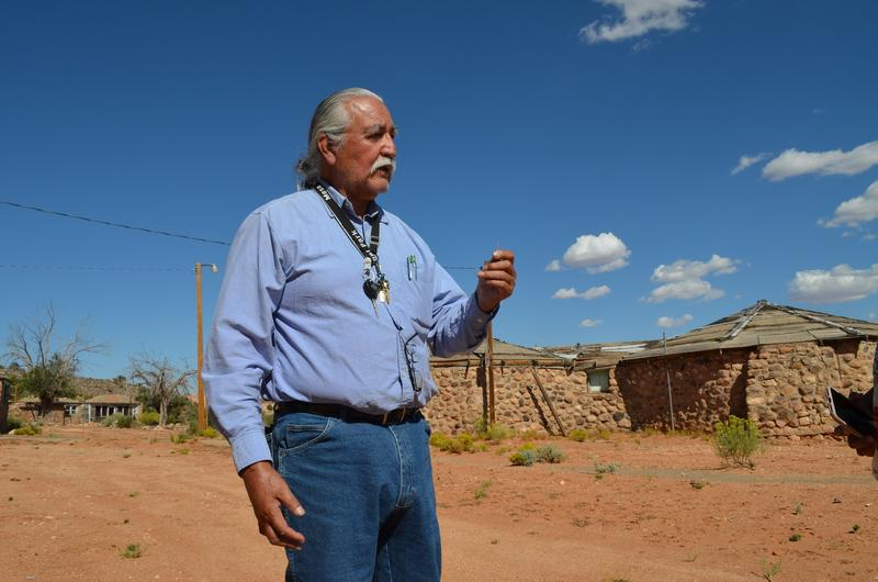 San Juan County Commissioner Willie Grayeyes giving a tour near the Navajo Mountain Chapter House.