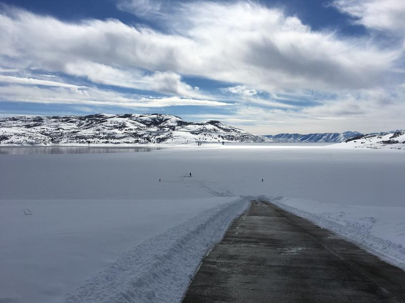 Photo of a snow-covered lake.
