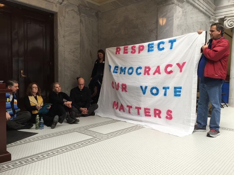 Protesters have been at the Capitol this week to speak out against lawmakers' rewrite of the voter-approved Medicaid expansion ballot initiative.
