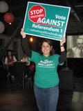 Teachers against vouchers rally on election night 2007.
