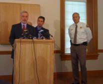 University of Utah Senior Vice-President Lorris Betz, University Health Care CEO David Entwhistle and Salt Lake County Sheriff Jim Winder at a news conference June 10th on the records theft.