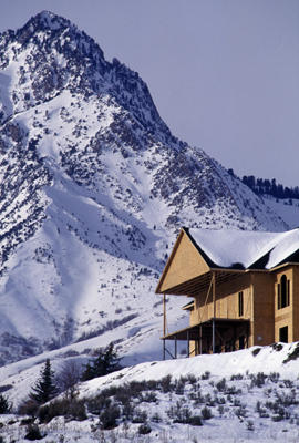 A new luxury home below Strawberry Peak in Utah's Wasatch Mountains.