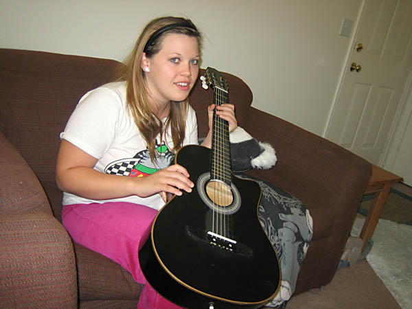 Meagan with her guitar