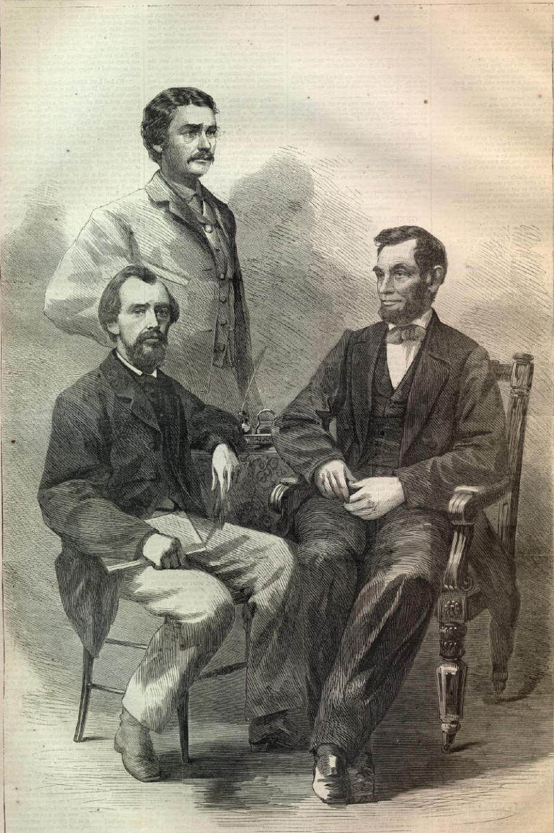 "President Lincoln with Secretaries Nicolay and Hay, from <a href=""http://www.sonofthesouth.net/leefoundation/civil-war/1864/june/nicolay-lincoln-hay.htm\"" target=\""_blank\"">Harper's Weekly</a>, June 11, 1864"