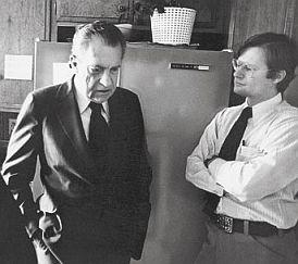 James Reston Jr. (right) stands with Richard Nixon in 1977. ABC, Inc.