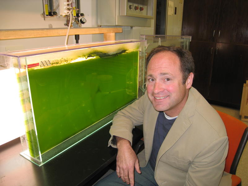 USU Energy Lab Executive Director Jeff Muhs next to an algae reactor.