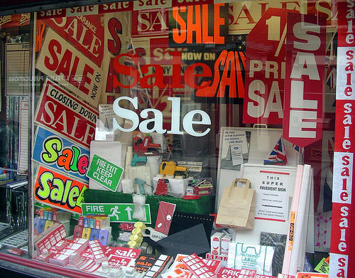 "Sale In A Sale Shop Selling Sale Signs. Photo by <a href=""http://www.flickr.com/photos/the_justified_sinner/2498066986/\"" target=\""_blank\"">Dauvit Alexander</a> on flickr.com"