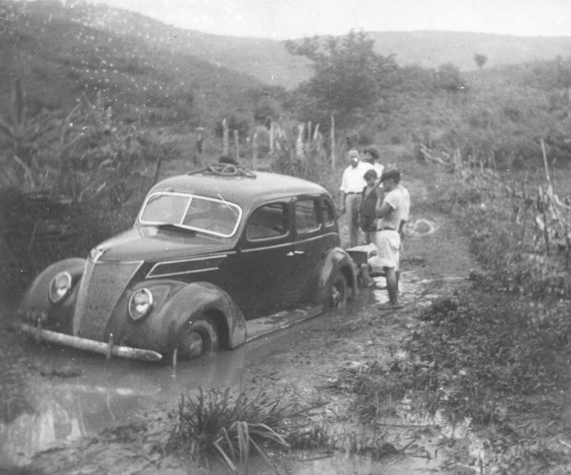 A Lincoln Zephyr stuck in Fordlandia mud. (c) Henry Ford Collection.
