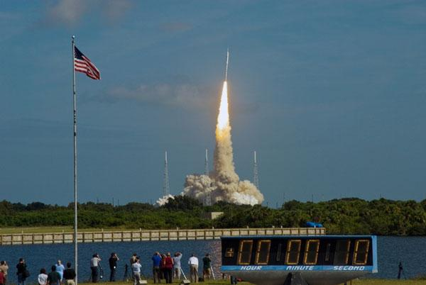 Ares 1 X blasts off from the Kennedy Space Center