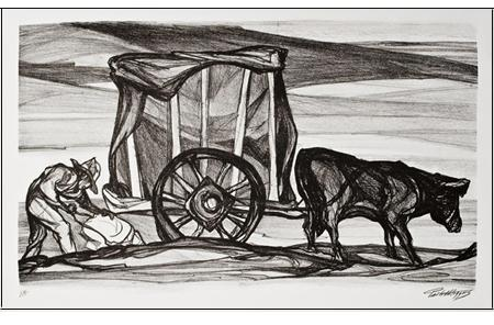 """La Carreta,\"" a lithograph created in the 1940s by American-Mexican artist Pablo O'Higgins."