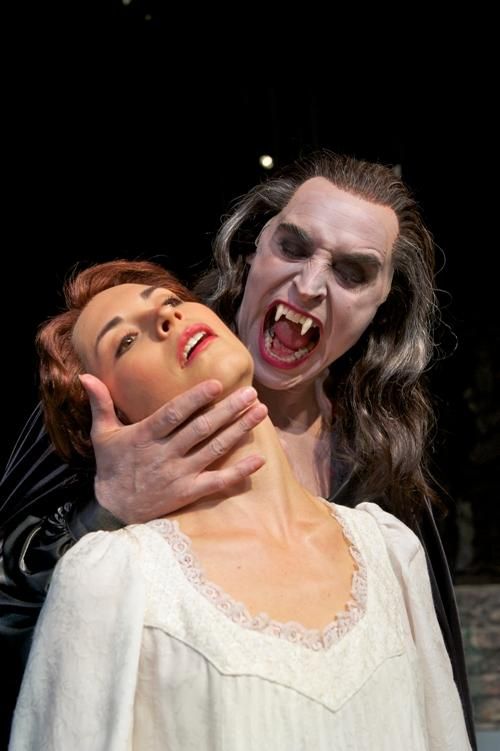 "Mark Elliot Wilson as Dracula, Stephanie Fieger as Lucy in Pioneer Theatre Company's ""Dracula\"""