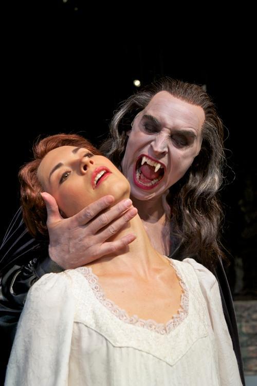 "Mark Elliot Wilson as Dracula, Stephanie Fieger as Lucy in Pioneer Theatre Company's \""Dracula\"""