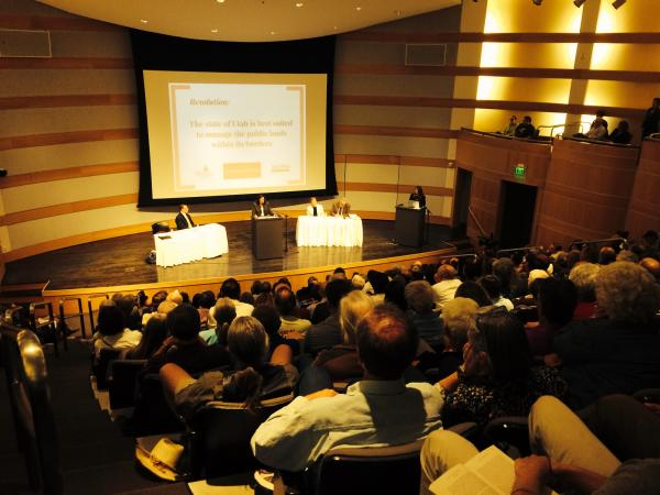 People gathered for a law-school-style debate on public lands policy at the Salt Lake City library.