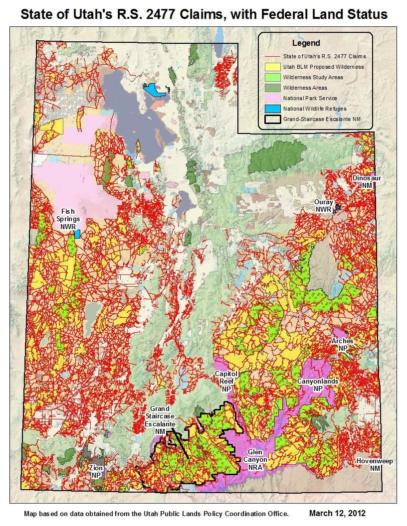 Mapping Utahs RS Road Claims KUER - Utah road map