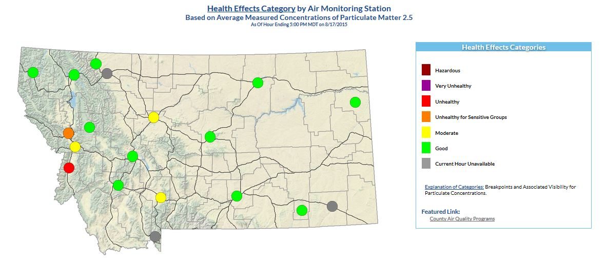 Montana Fire Map 2016.Air Quality Ratings Explained Mtpr