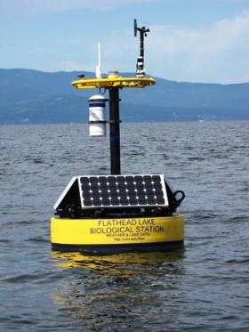 One of two hi-tech buoys transmitting weather and water quality information to the Bio Station. The information is available to the public, updated every 15 minutes, through the FLBS website.