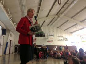First Lady Lisa Bullock reads to students at Bryant Elementary in Helena on Monday