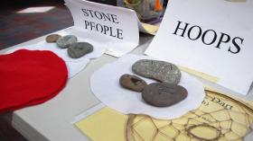 The Stone People game requires a steady hand, good memory, and storytelling. Hoop games involve throwing accuracy and eye-hand skills.