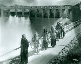 Salish and Kootenai chiefs at dedication of Kerr Dam