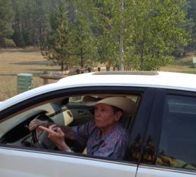 Author and Sleeman road resident James Lee Burke preparing to evacuate his horses