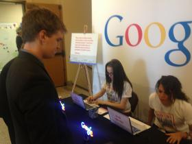 22 year-old Alex Crosby lines up for a free website offered to businesses by Google during the Montana Economic Development Summit Tuesday