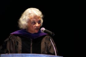Retired U.S. Supreme Court justice Sandra Day O'Connor addressing crowd at the University of Montana