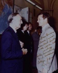 A picture of Sen. Mike Mansfield and Max Baucus taken in the early 80's