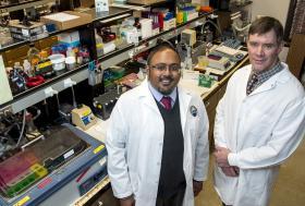 UM researchers Sarj Patel, left, and Tom Rau, right