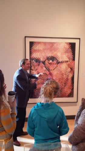 Art collector Jordan Schnitzer talking with Hawthorne school 5th-graders about a new exhibit of modern art currently on display at the Missoula Art Museum. The prints are from Schnitzer's private collection.