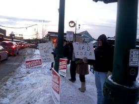 Protesters gather in Whitefish 2/3/14 to protest the Keystone XL Pipeline and push for renewable energy.