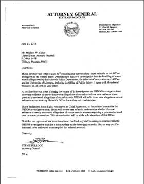 A 2012 letter from then-Attorney General Steve Bullock to UDDOJ's Montana representative Michael Cotter requests a meeting to discuss the federal agency's investigation into how Missoula handles sexual assault.