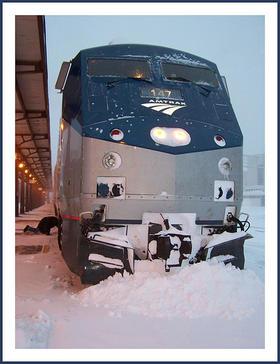 An Amtrak train delayed by snow in Omaha, Nebraska in 2009.