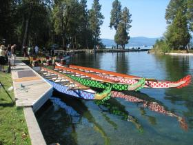 Boats waiting for the start of the Flathead Dragon Boat Festival races.