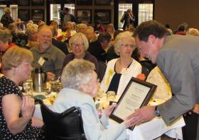 Governor Steve Bullock presents Beulah Brown (100) with her Centenarian Certificate at the 46th Annual Governor's Conference on Aging.