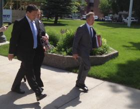 Markus Kaarma (L) and lead attorney Paul Ryan (R) before a June, 2014 court appearance.
