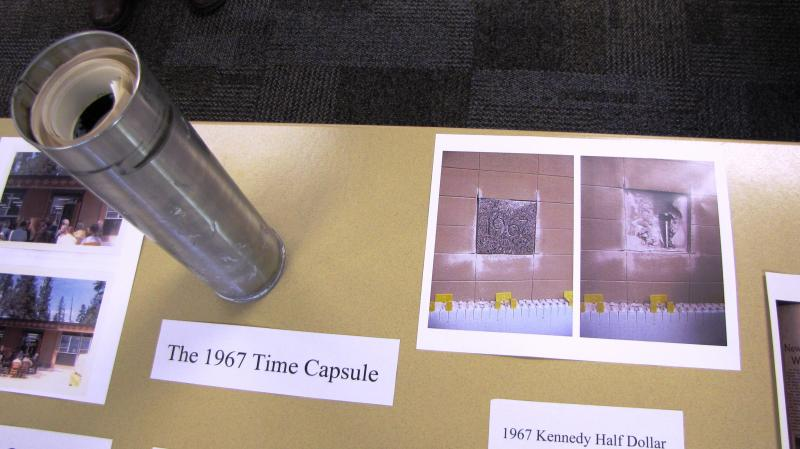 The 1967 time capsule was discovered behind the cornerstone of the Elrod Building, built in 1967, during recent renovations.
