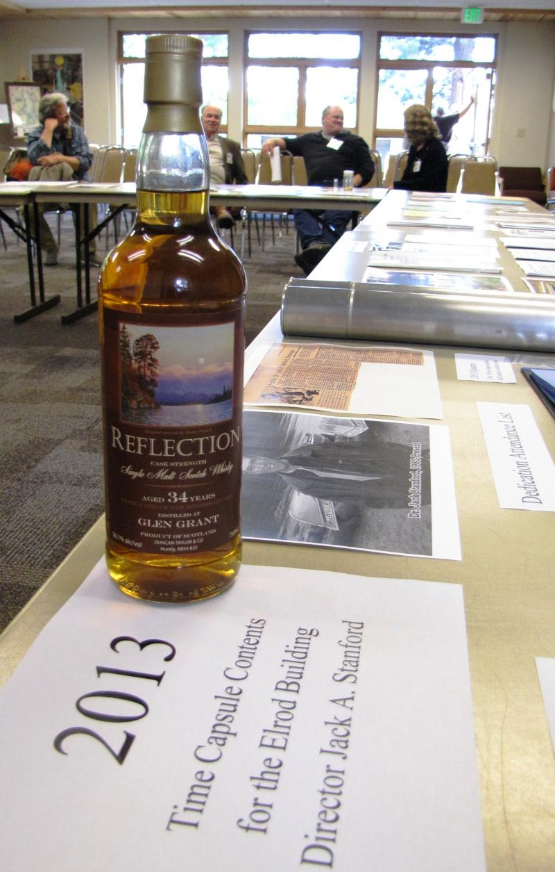 Among the items being put into the 2013 time capsule, a special bottle of scotch.