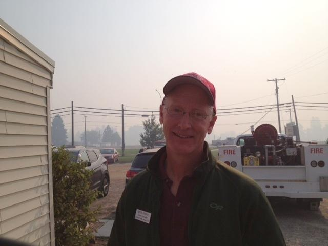 Incident commander Greg Poncin in smoky Lolo fire camp