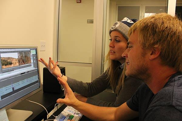 Producer Anna Cole and Director Keith McGlothlin editing the show