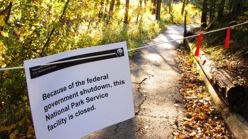Path running along the Park side of the Middle Fork Flathead River closed off.