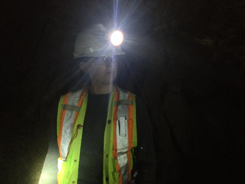Montana Tech mining engineering junior Krystal Martin listens to instructions in Butte's Orphan Boy Mine